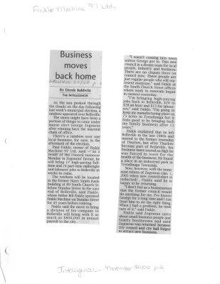 Business moves back home: Finkle Machine 97 Ltd