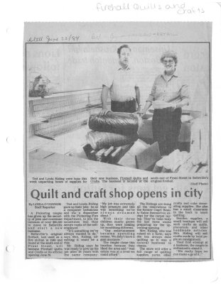 Quilt and craft shop opens in city:Firehall Quilts and Crafts