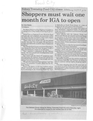 Sidney Township Food City closes : Shoppers must wait one month for IGA to open