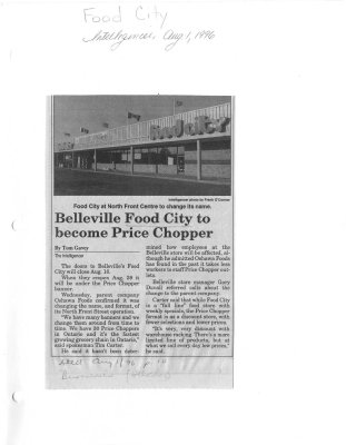 Food City at North Front Centre to change its name : Belleville Food City to become Prince Chopper