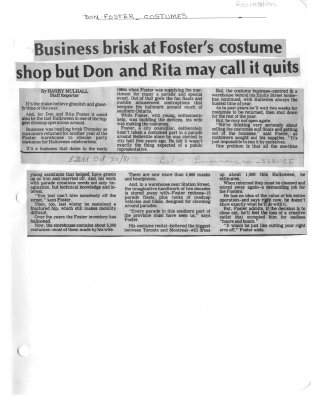 Business brisk at Foster's costume shop but Don and Rita man call it quits