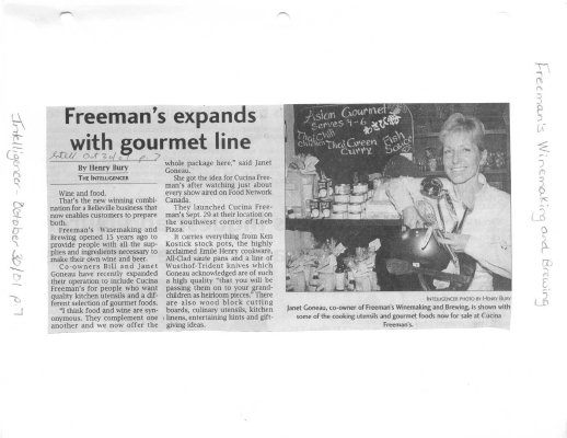 Freeman's expands with gourmet line : Freeman's Winemaking and Brewing
