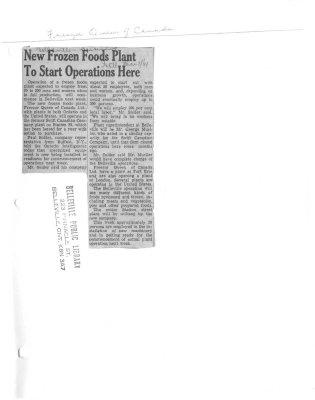 New frozen foods plant to start operations here : Freezer Queen of Canada
