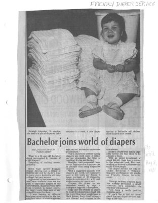 Bachelor joins world of diapers : Friendly Diaper Service