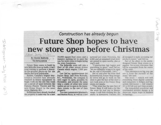 Contruction has already begun Future Shop hopes to have new store open before Christmas