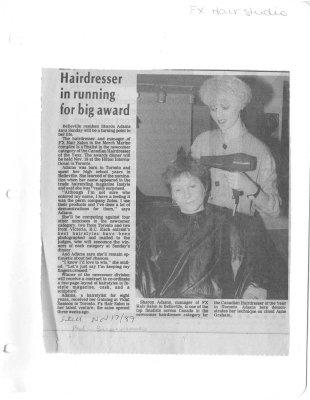 Hairdresser in running for big award : FXX Hair Studio