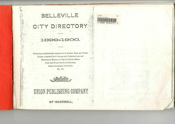 Belleville City Directory 1899 - 1900