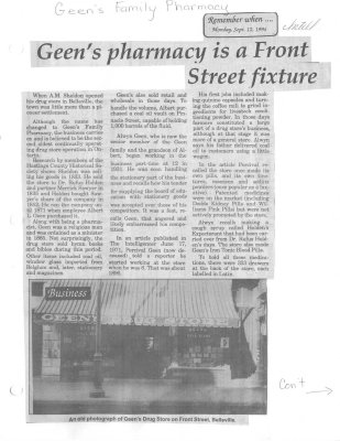Remember when: Geen's pharmacy is a Front Street fixture