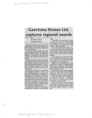 Geertsma Homes Ltd. captures regional awards
