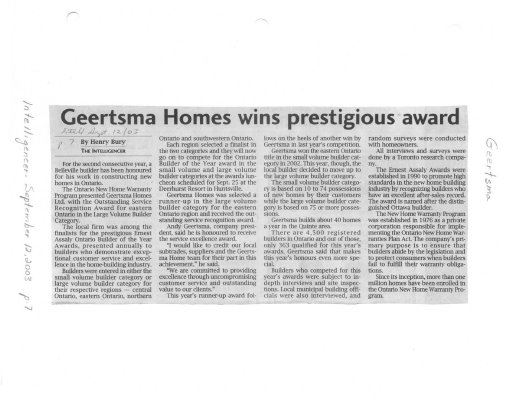 Geertsma Homes wins prestigious award