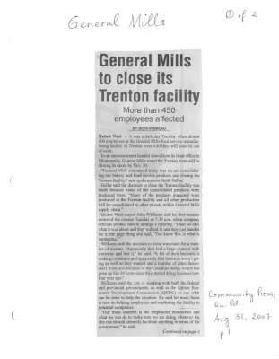 General Mills to close its Trenton facility