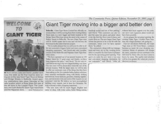 Giant Tiger Moving Into A Bigger And Better Den