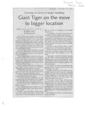Giant Tiger On The Move To Bigger Location
