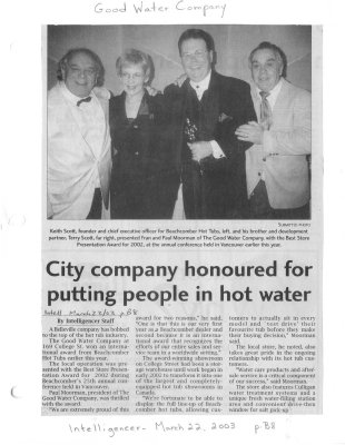 City Company Honoured For Putting People in Hot Water