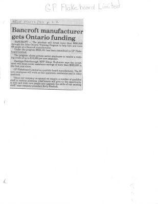 Bancroft Manufacturer Gets Ontario Funding