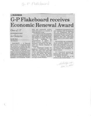 G-P Flakeboard Receives Economic Renewal Award