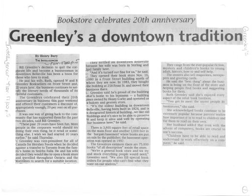 Greenley's a Downtown Tradition