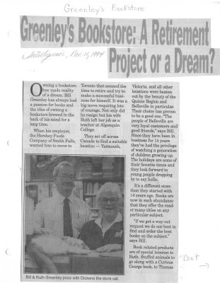 Greenley's Bookstore: A Retirement Project or a Dream?