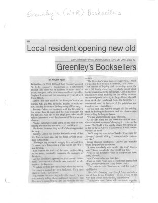 Local Resident Oening New Old Greenley's Booksellers