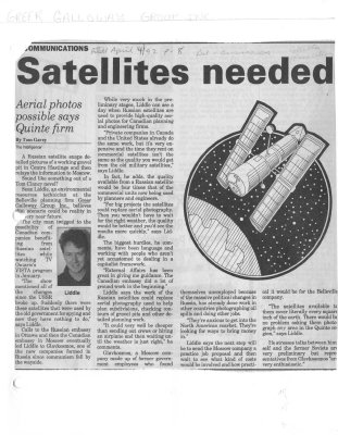 Satellites Needed: Aerial Photos Possible Says Quinte Firm