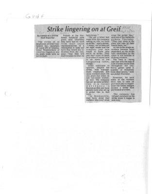 Strike Lingering on at Greif
