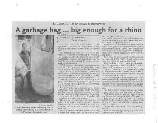 A Garbage Bag... Big Enough For a Rhino