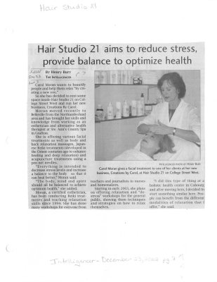 Hair Studio 21 aims to reduce stress, provide balance to optimize health