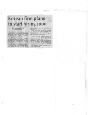 Korean firm plans to start hiring soon - Halla Climate Control