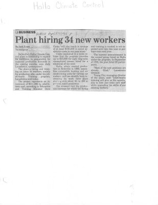 Plant hiring 34 new workers - Halla Climate Control