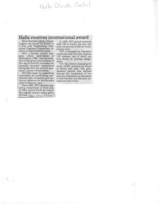 Halla receives international award