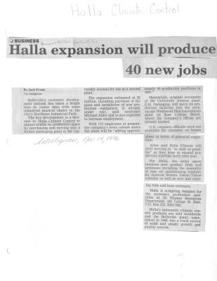 Halla expansion will produce 40 new jobs