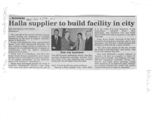 Halla supplier to build facility in city