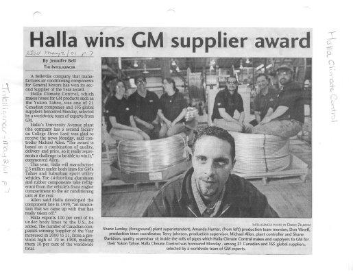 Halla wins GM supplier award