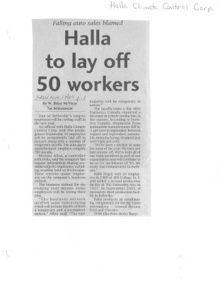Halla to lay off 50 workers