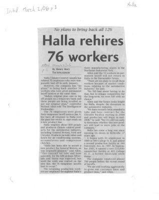 Halla rehires 76 workers