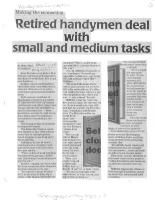 Retired handymen deal with small and medium tasks