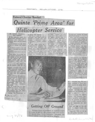 Quinte Prime Area for helicopter service