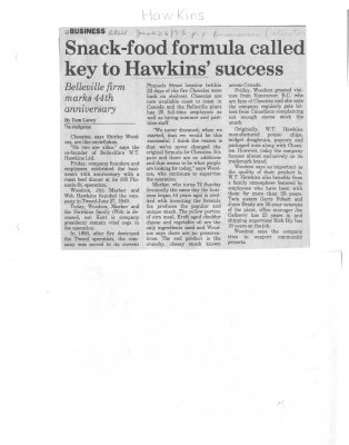 Snack-food formula called key to Hawkins' success
