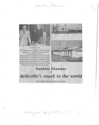 Hawkins Cheezies Belleville's snack to the world