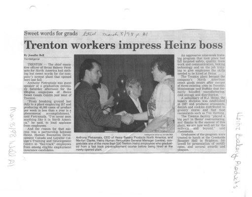 Trenton workers impress Heinz boss