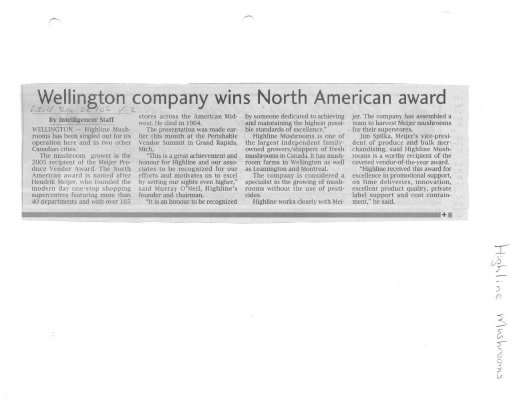 Wellington company wins North American award
