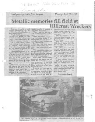 Metallic memories fill field at Hillcrest Wreckers