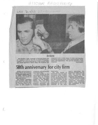 50th anniversary for city firm: Hitchon Radio and Television