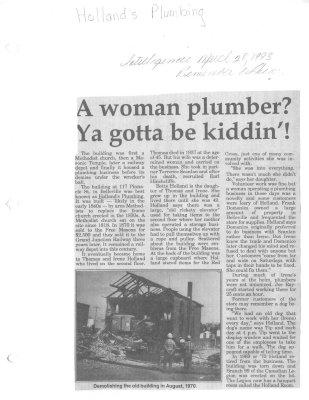 Remember When: A woman plumber? Ya gotta be kiddin'!