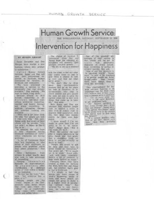 Human Growth Service: Intervention for Happiness