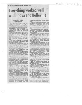 Everything worked well with Inova and Belleville