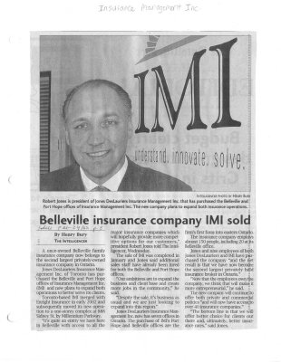 Belleville insurance company IMI sold