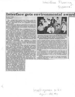 Interface gets environmental award