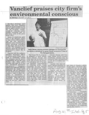 Vanclief praises city firm's environmental conscious