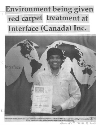 Environment being given red carpet treatment at Interface (Canada) Inc.
